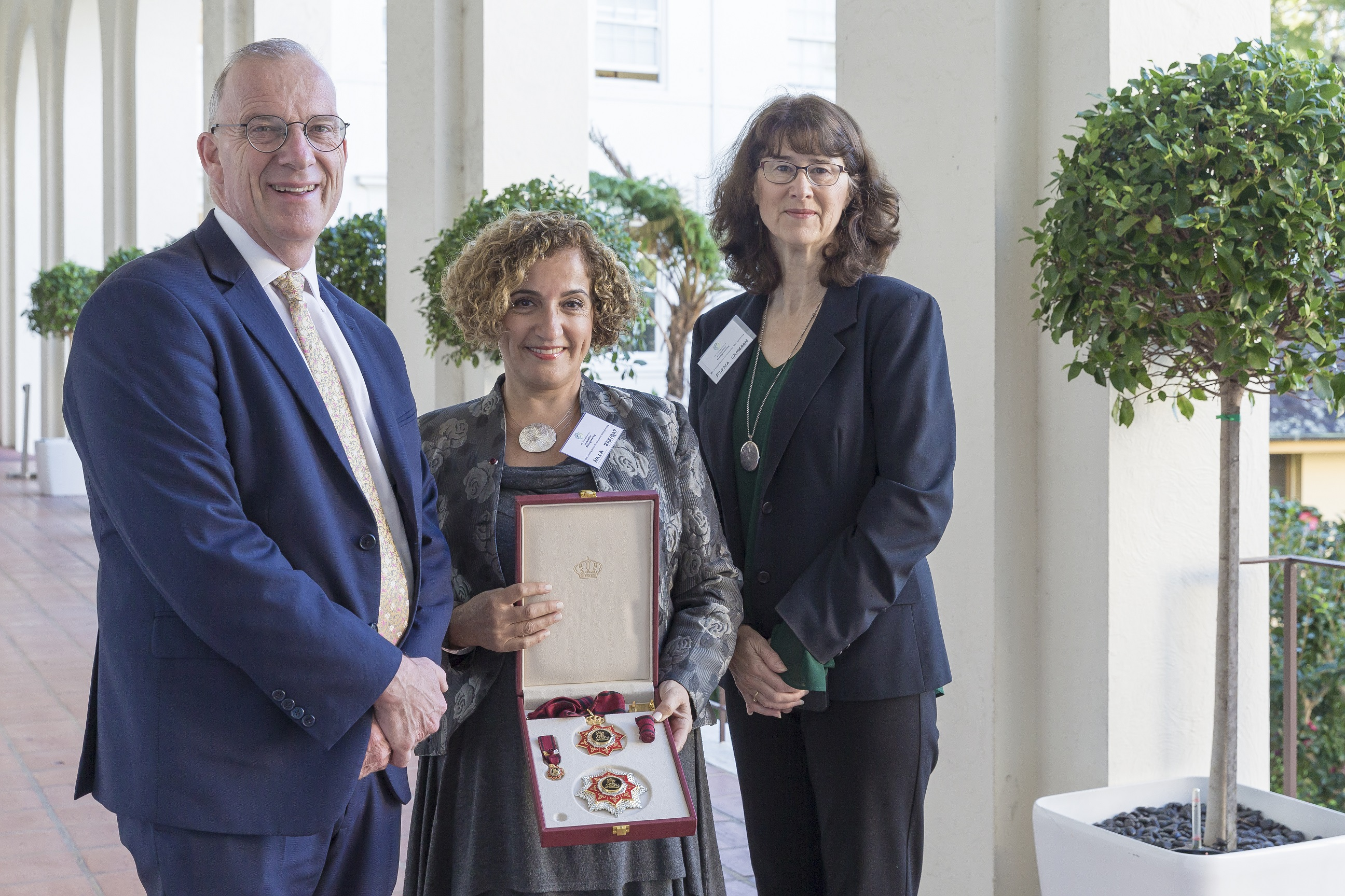 (l-r) Vice-Chancellor and Principal Dr Michael Spence, Professor Hala Zreiqat and Dr Fiona Cameron, Executive Director for Biological Sciences and Biotechnology – Australian Research Council, at the launch of the Centre.