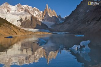 Glaciers covering the Adela and Cerro Torre massifs