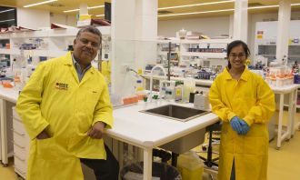 L-R: Associate Professor Ravi Shukla and PhD researcher Arpita Poddar
