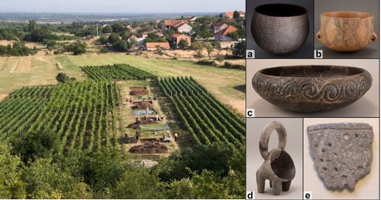 The archaeological site of Pokrovnik during excavation with the modern village, Dalmatia, Croatia; Examples of pottery types from the Dalmatian Neolithic. Image Credit: Andrew M.T. Moore; McClure et al., 2018