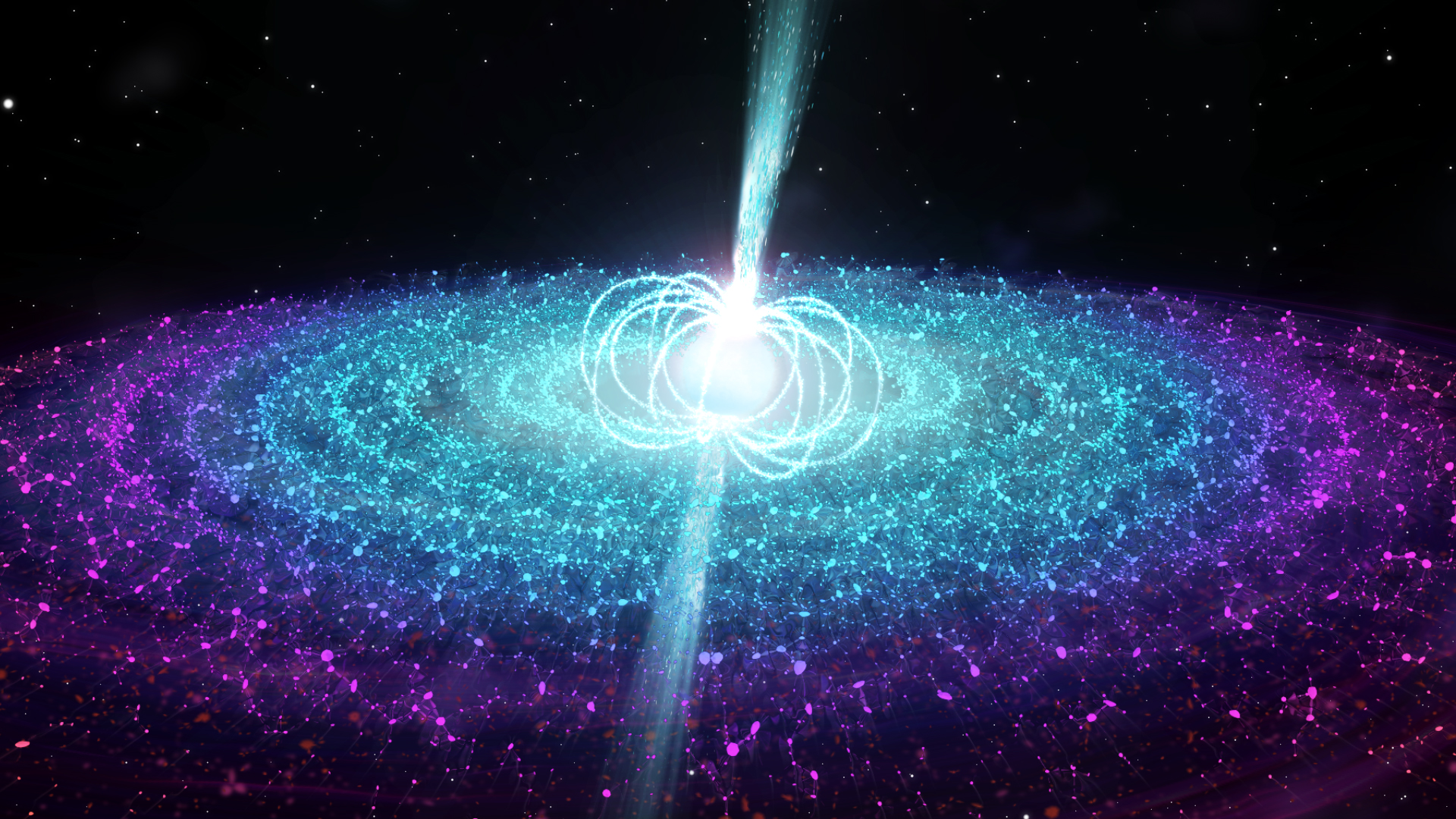 An artist's impression of the strong magnetic field neutron star in Swift J0243.6+6124 launching a jet. During the bright outburst event in which it was first discovered, the neutron star in Swift J0243.6+6124 was accreting at a very high rate, producing copious X-ray emission from the inner parts of the accretion disk. At the same time, the team detected radio emission with a sensitive radio telescope, the Karl G. Jansky Very Large Array in the USA. By studying how this radio emission changed with the X-rays, we could deduce that it came from fast-moving, narrowly-focused beams of material known as jets, seen here moving away from the neutron star magnetic poles. Credit: ICRAR/University of Amsterdam.