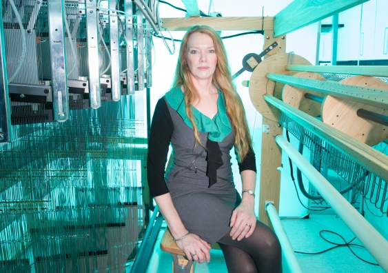 UNSW's Paul Trainor Chair of Biomedical Engineering Professor Melissa Knothe Tate with the state-of-the-art computer-controlled jacquard loom