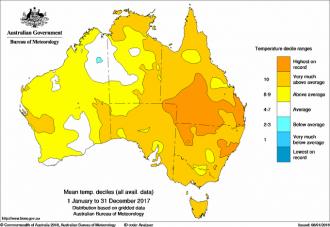 Australian temperature map 2017