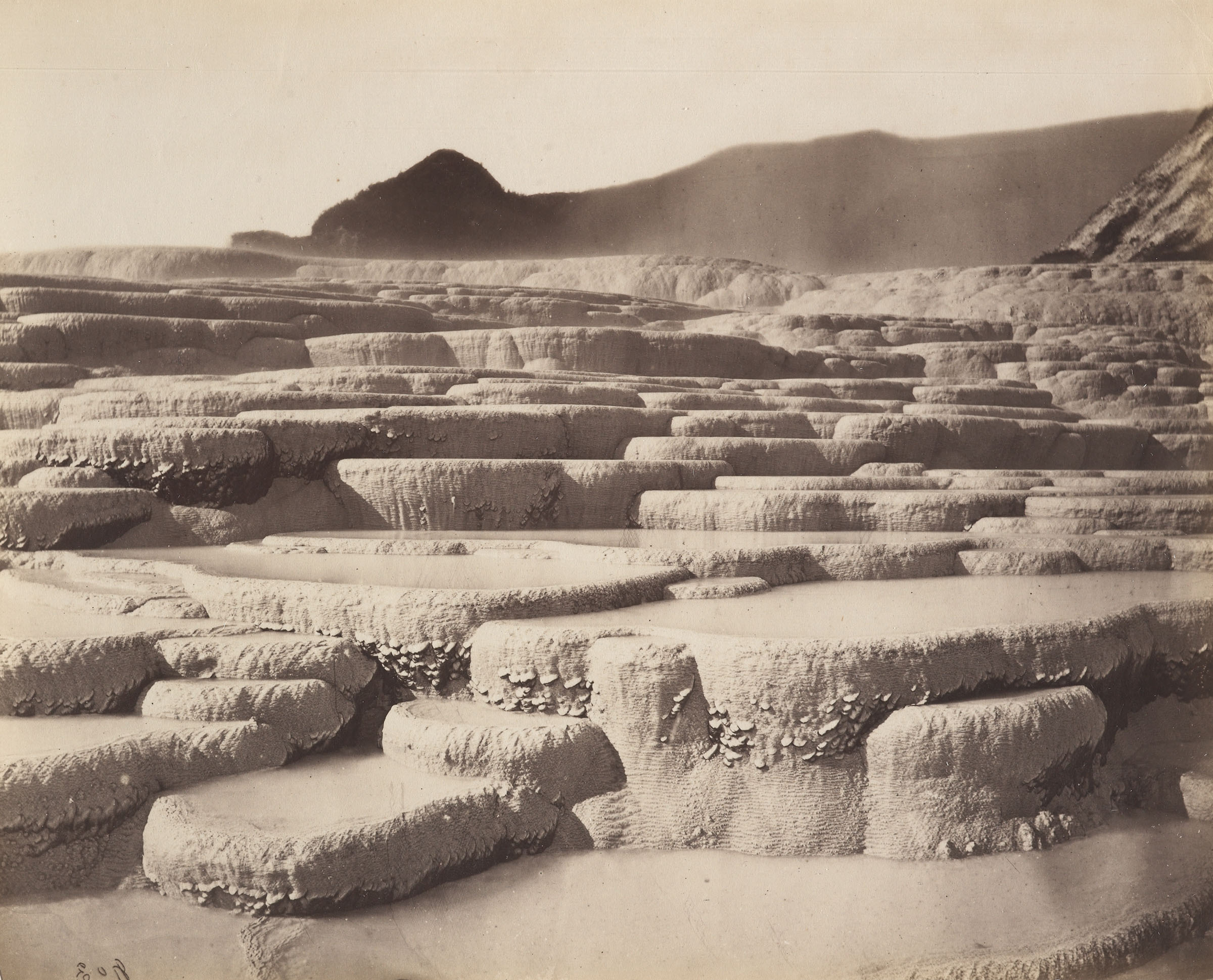 White terraces. Photo by Charles Spencer 1880 of the Te Papa Collections. Public domain.