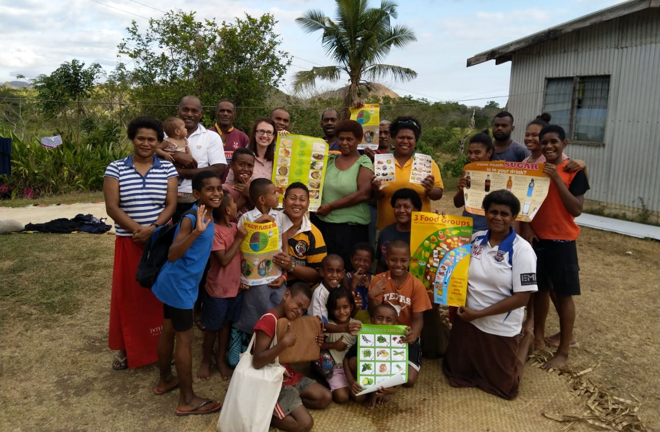 Lydia O'Meara with nutritional workshop participants in Fiji. Image: ACIAR