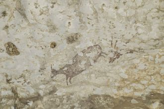 A team of archaeologists led by Griffith University has discovered a cave painting in Indonesia that is at least 44,000 years old and which portrays a group of part-human, part-animal figures – 'therianthropes' – hunting large mammals with spears or ropes, casting new light on the origin of modern human cognition. As reported in Nature, this ancient painting from Sulawesi is our species' oldest known rock art. The figurative depiction of hunters as therianthropes may also be the oldest evidence for our ability to imagine the existence of supernatural beings, a cornerstone of religious experience.