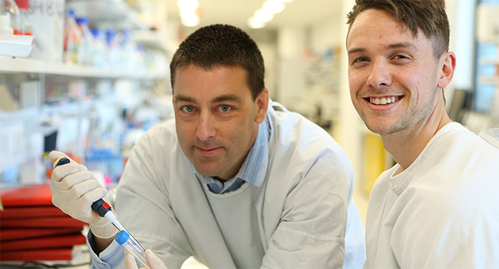 Professor Nick Spencer, left, at the Centre for Neuroscience at Flinders University.