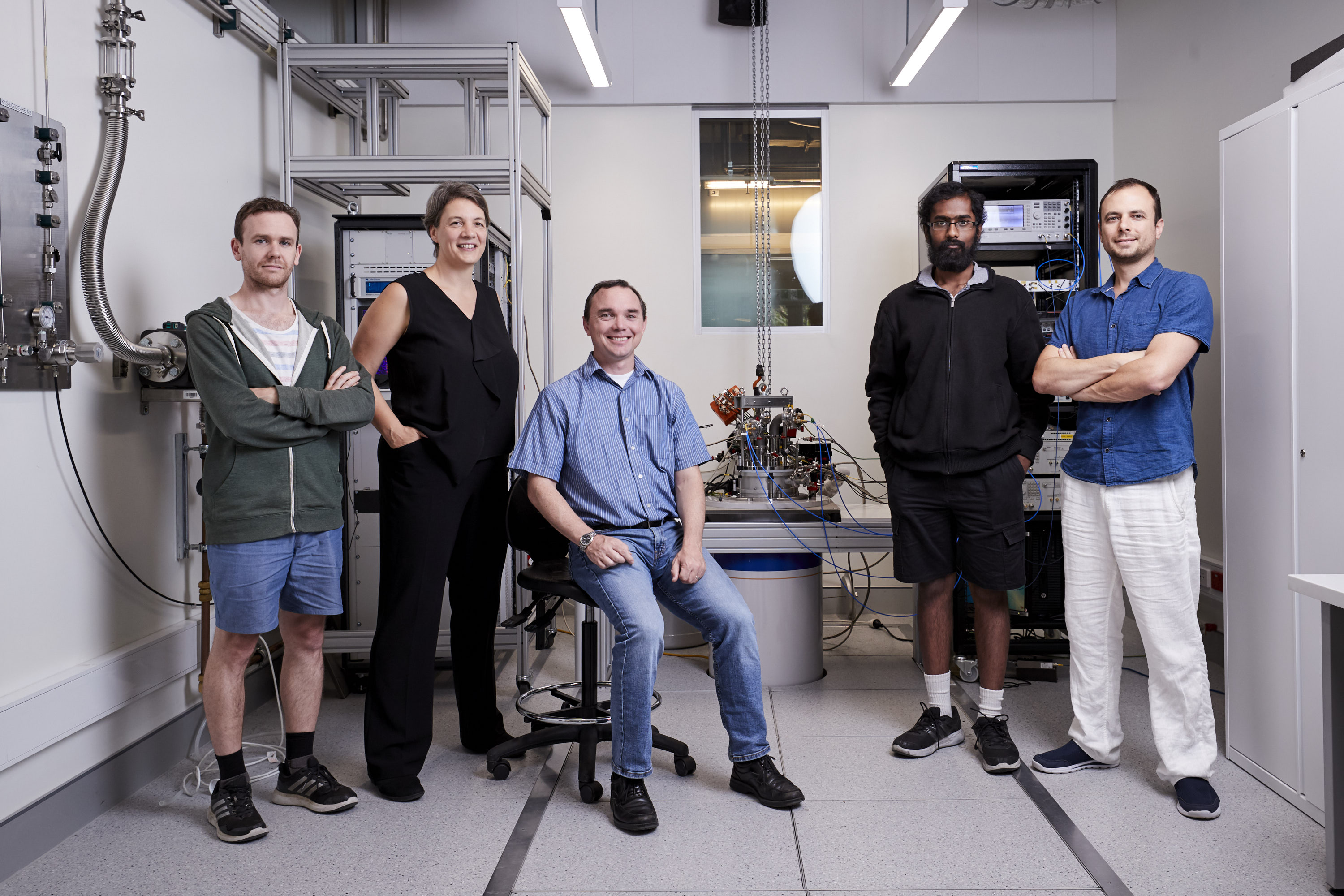 The authors of the paper, from left to right:  PhD student Mark R. Hogg; Professor Michelle  Simmons; Post Doc Matthew G. House; PhD student Prasanna Pakkiam; Post Doc Andrey Timofeev