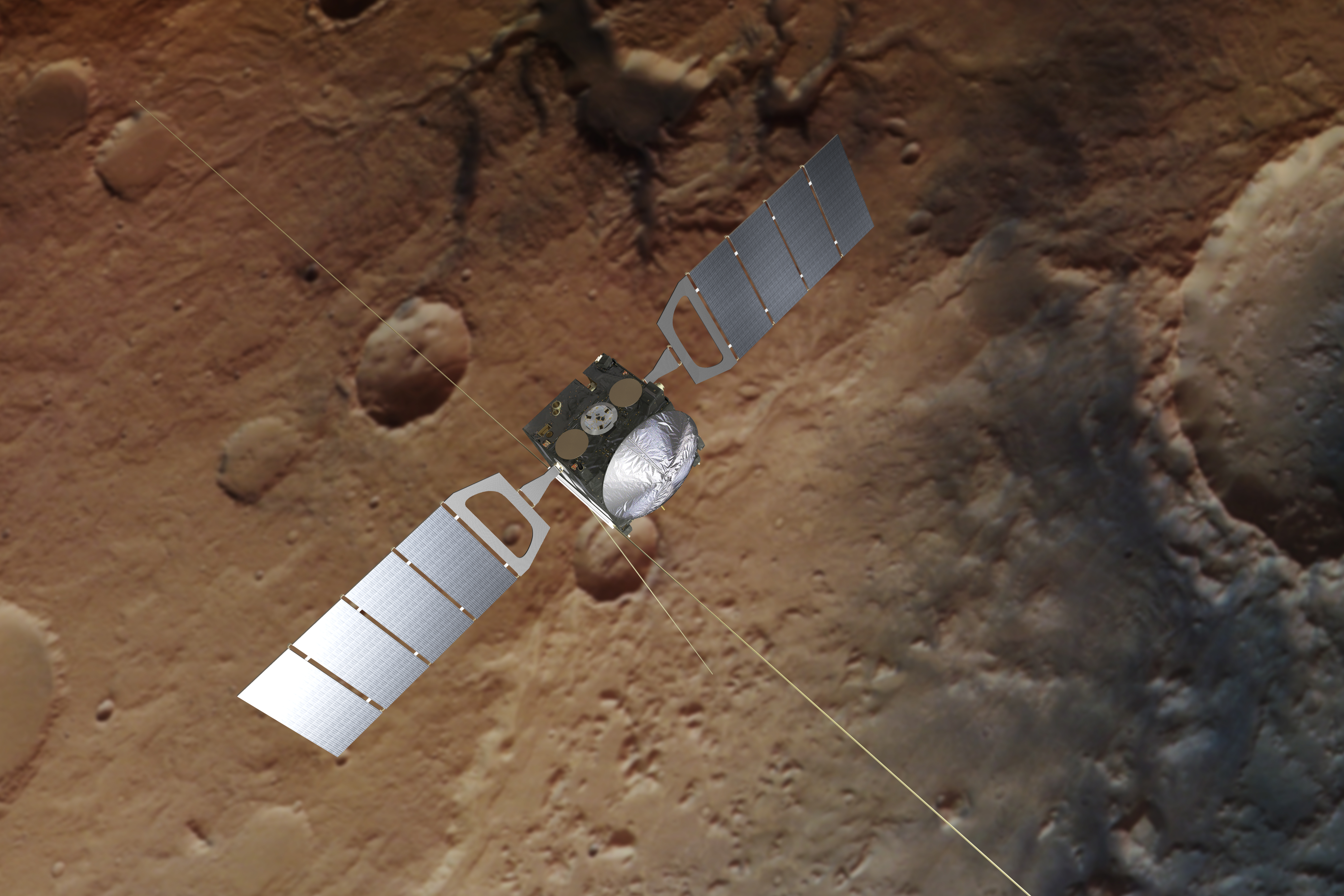 Artist impression of Mars Express (background based on an actual image of Mars taken by the spacecraft's high resolution stereo camera). Image credit - Spacecraft: ESA/ATG medialab; Mars: ESA/DLR/FU Berlin, CC BY-SA 3.0 IGO
