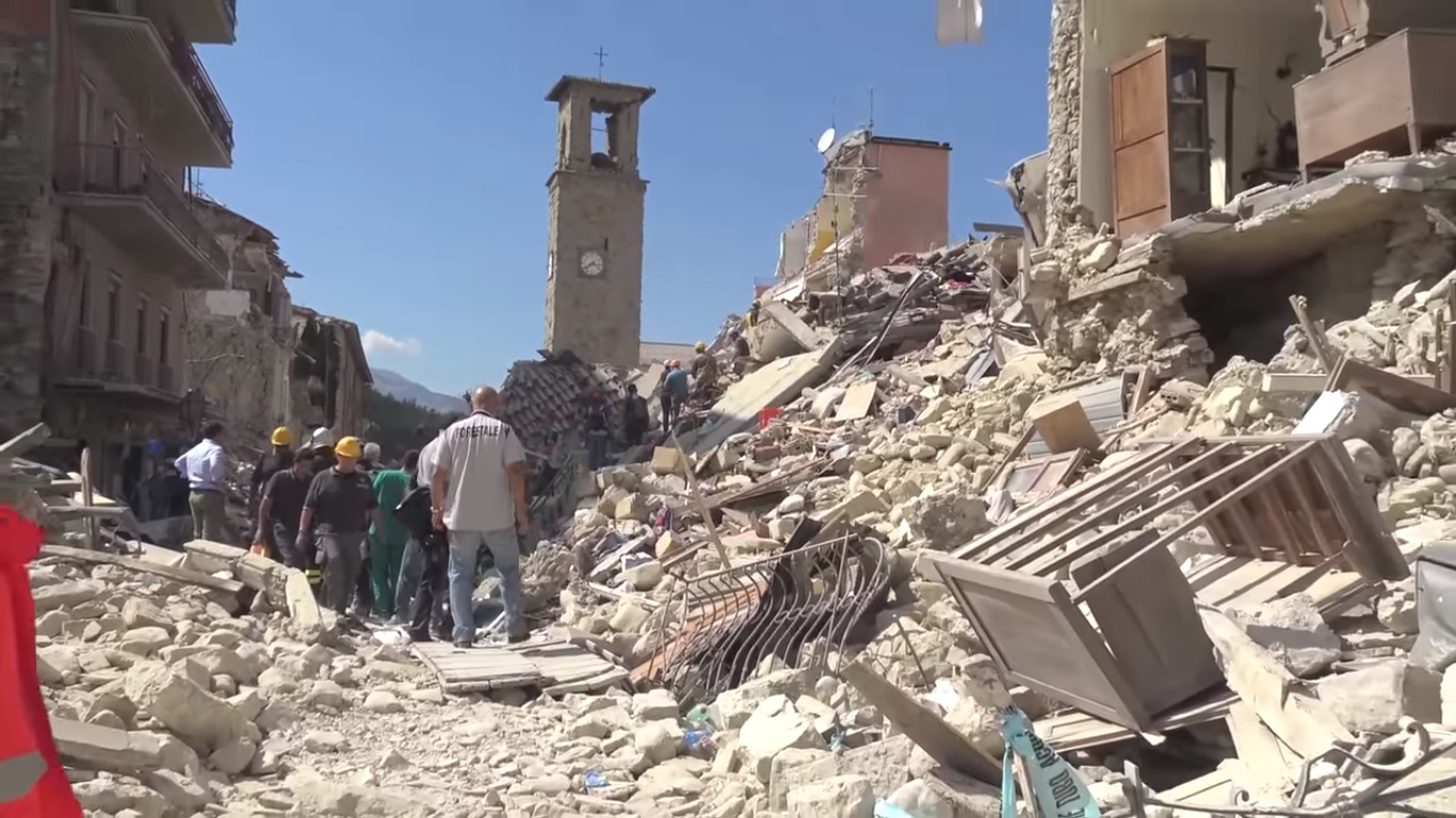 The 2016 Amatrice earthquake was used in the study.  Wikimedia Commons/Leggi il Firenzepost (CC BY 3.0)