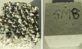 Highly corroded ordinary Portland cement (L) cement-free concrete (R)
