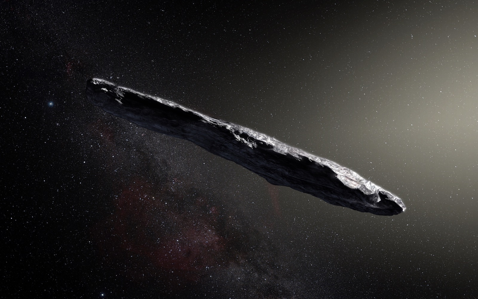 An artist's impression of 'Oumuamua, the first interstellar asteroid. Credit: ESO/M. Kornmesser.