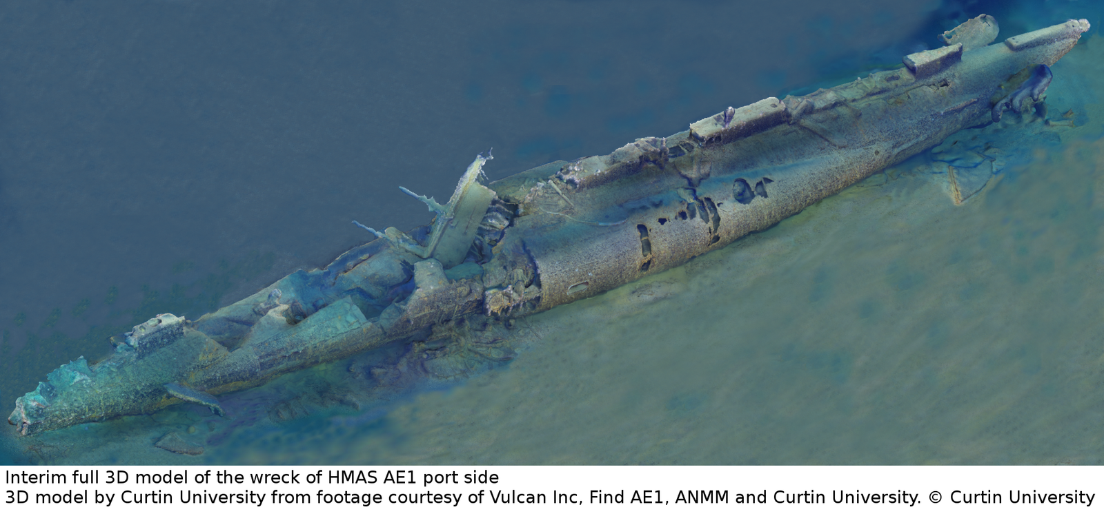 Interim full 3D model of the wreck of HMAS AE1 port side. 3D Model by Curtin University from footage courtesy of Vulcan Inc, Find AE1, ANMM and Curtin University. Copyright Curtin University