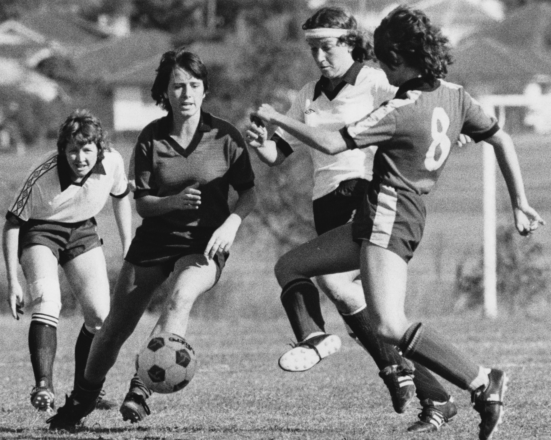 Sue Monteath, Kerri Millman, Connie Byrne (L-R) playing for The Matildas in the 1980s. Photo: Football Queensland.