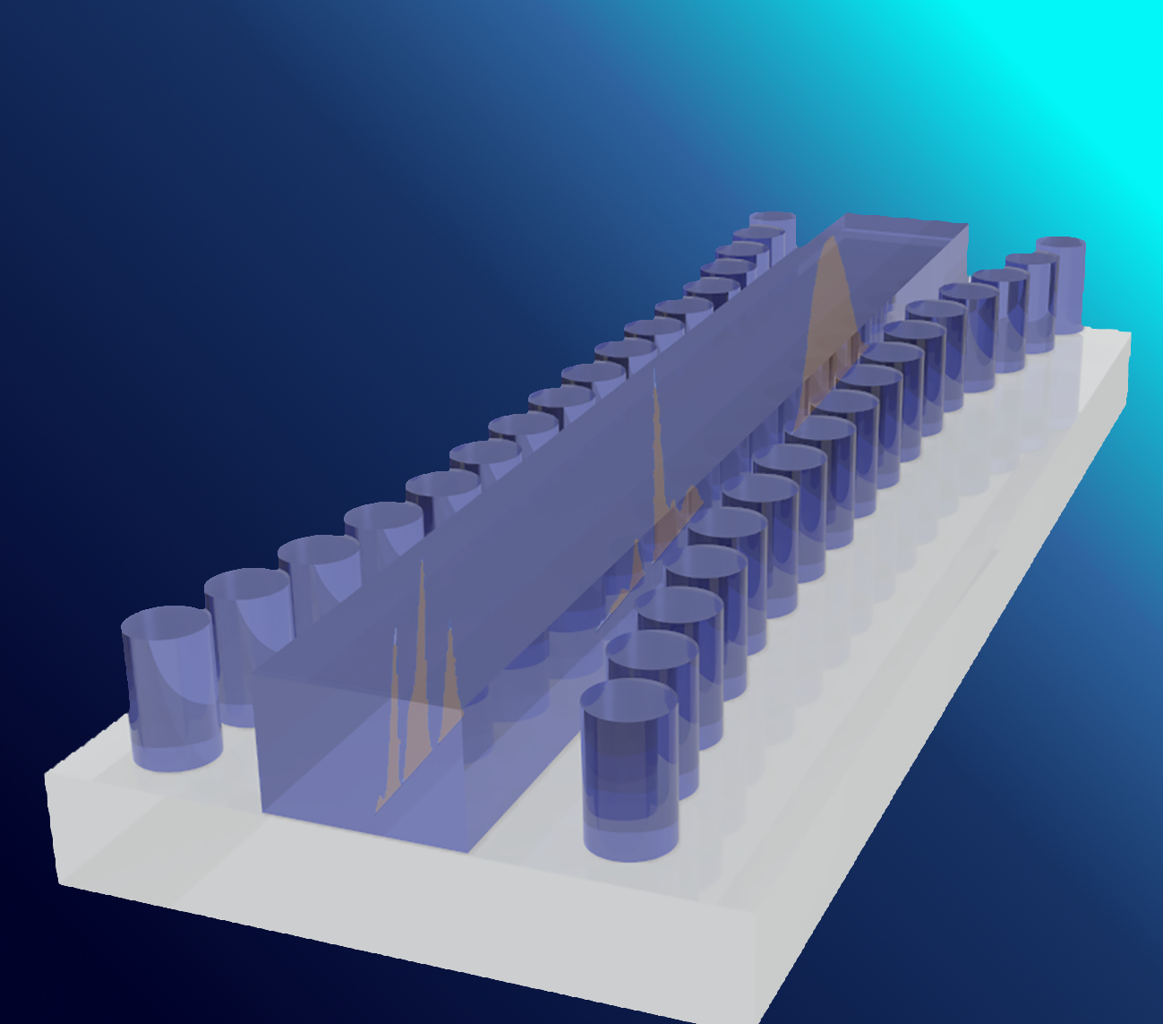 Artist's impression of the Bragg gate structure on a silicon substrate used in the experiment.