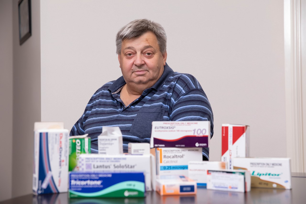 Kidney disease sufferer Nino Bortolussi with his current array of medication copyright The George Institute
